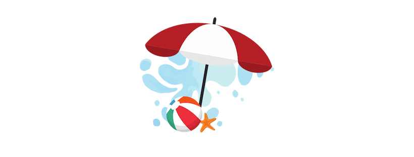 Illustration of a beach umbrella, beach ball, starfish and a splash of water.