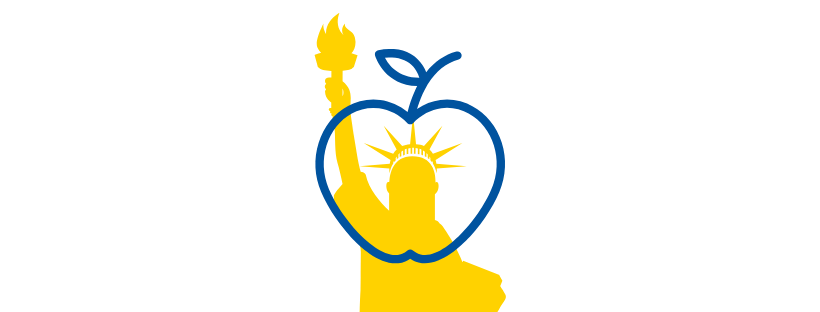 Yellow silhouette of the Statue of Liberty with a blue outline of an apple.