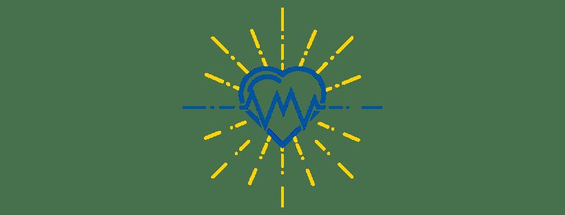 Heart, EKG wave, starburst