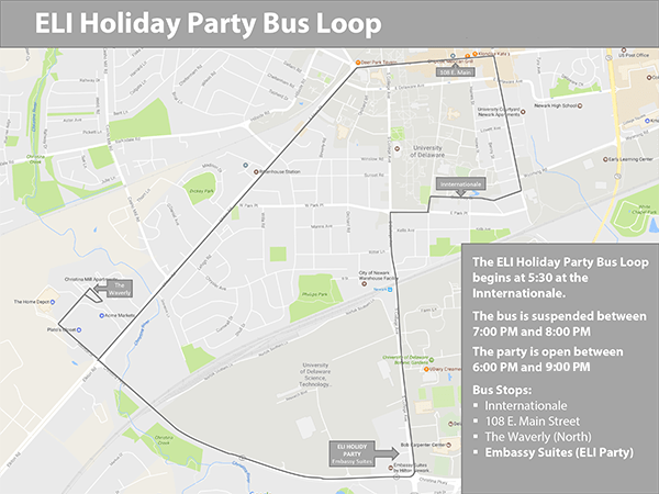 Map of Holiday Party bus loop