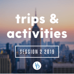 Sunset over the New York City skyline. Text: Trips & activities. Session 2 2019