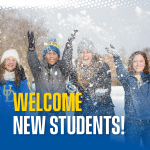 Students playing in the snow on the Green. Text reads: Welcome New Students!