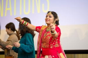 A woman dances during the Festival of Nations Celebration held at Trabant University Center.