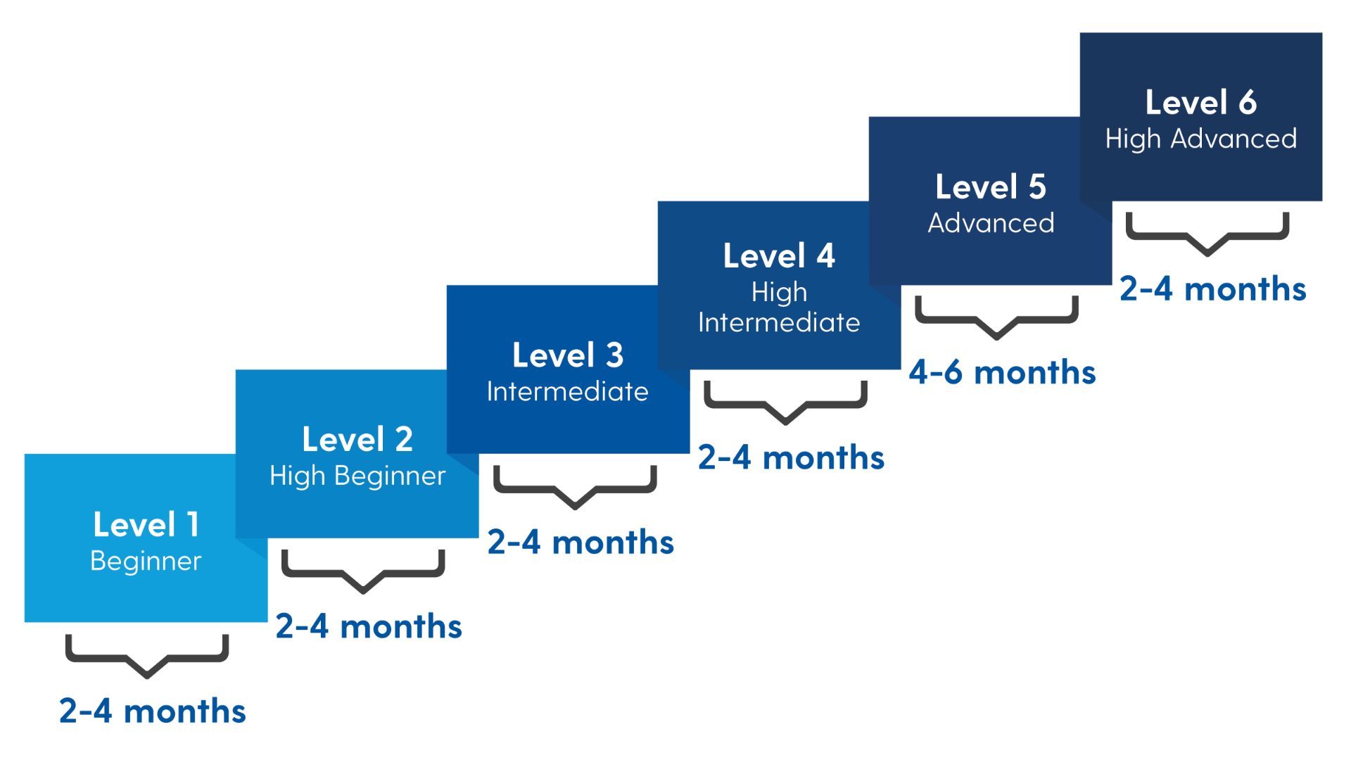 Graphic of Level steps for Grad CAP as described on this page