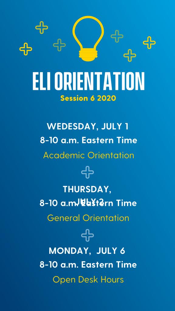 Orientation schedule. Follow link for a screen readable pdf.