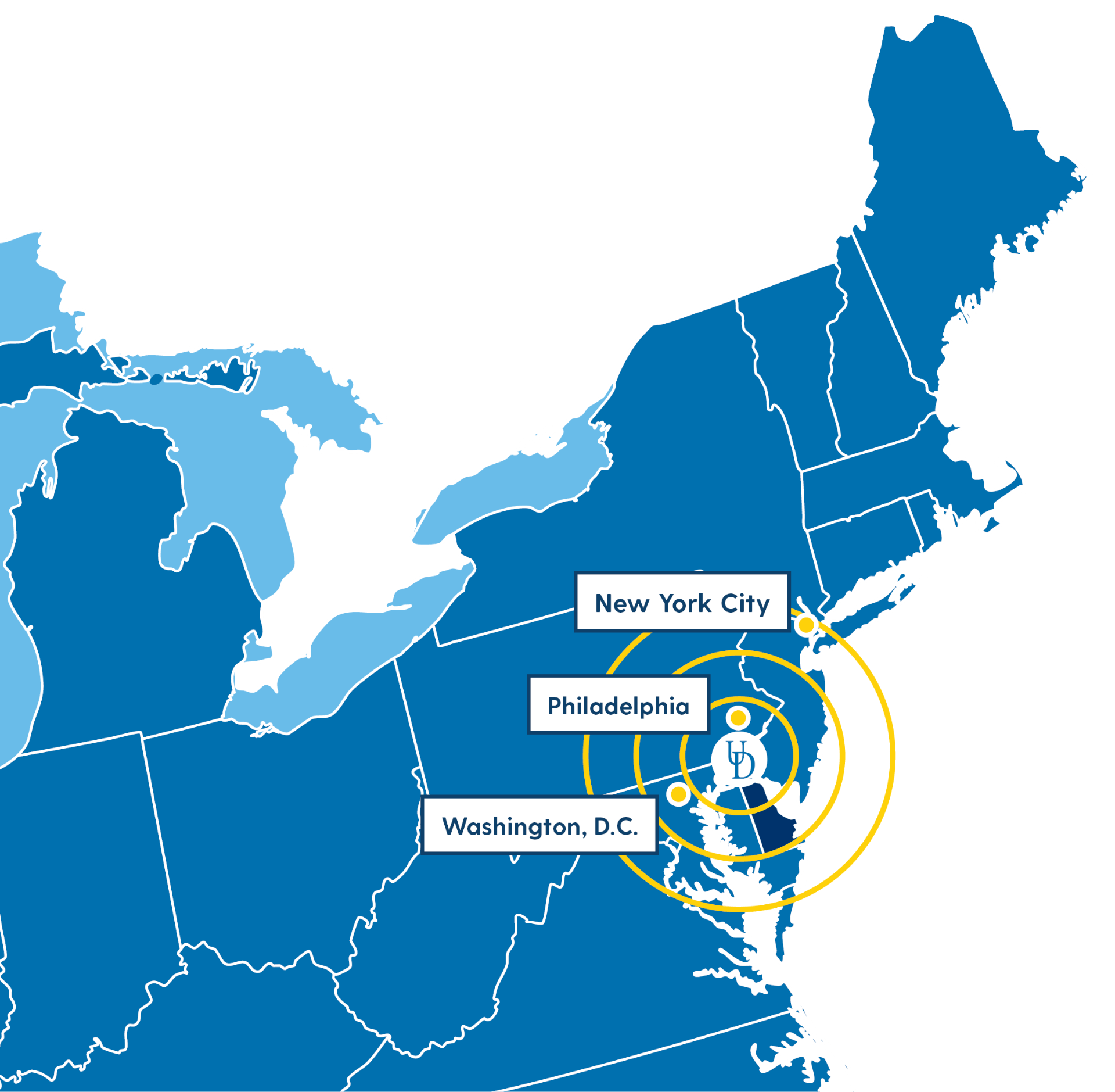 Map showing Newark centrally located on the East Coast of the U.S.