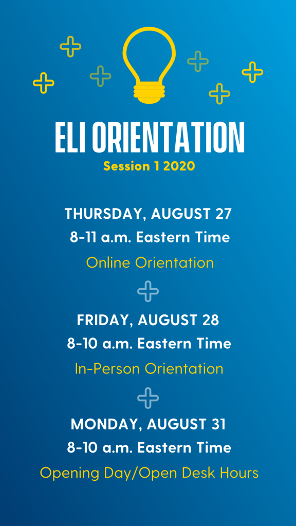 Visual aid for schedule of orientation days