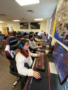 Students at computers in ELI's ELIte Esports Lounge
