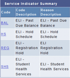 List of UDSIS Service Indicators and their meanings. Please contact eli-registrar@udel.edu for help with codes if needed.