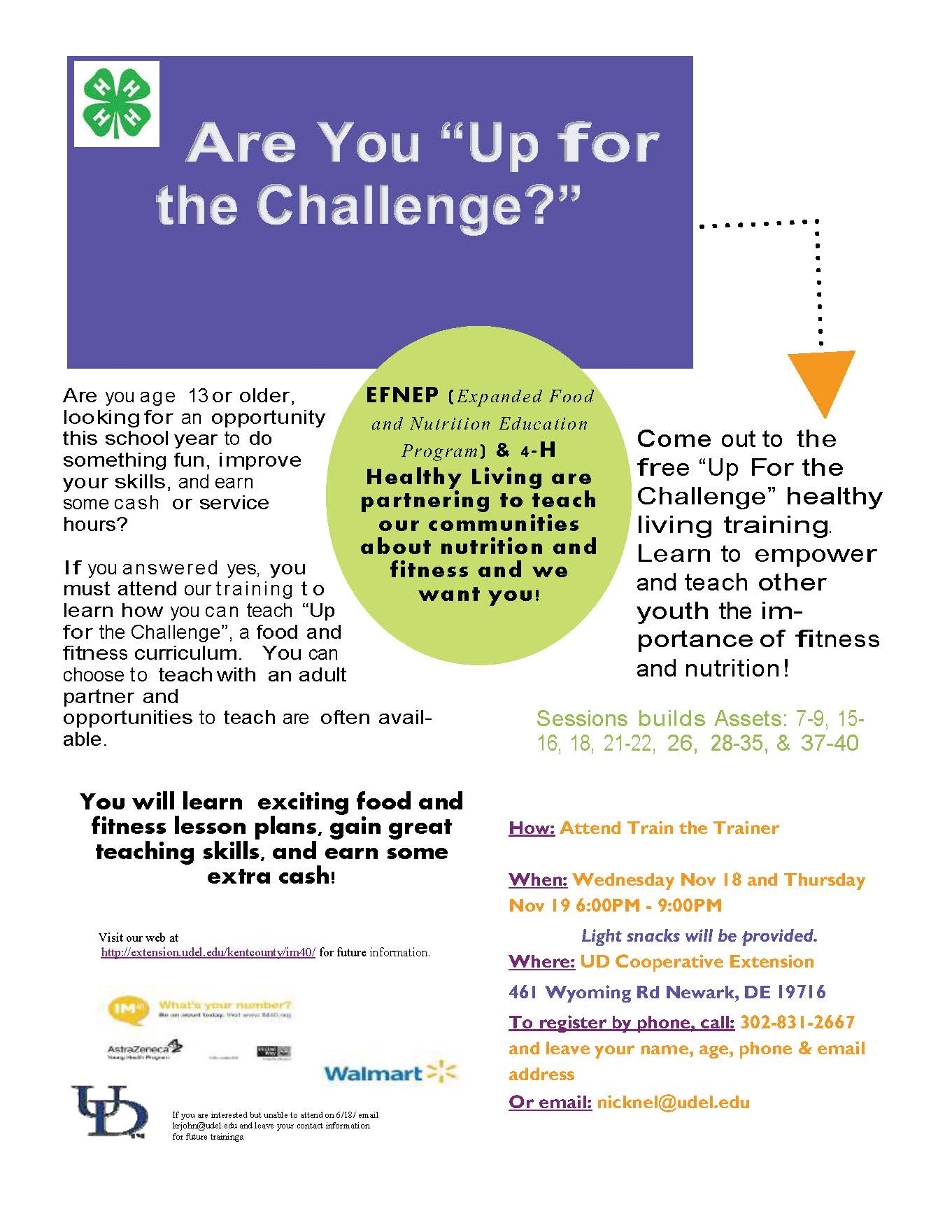 Up For The Challenge Train the Trainer Flyer Fall 2015 (NCC)