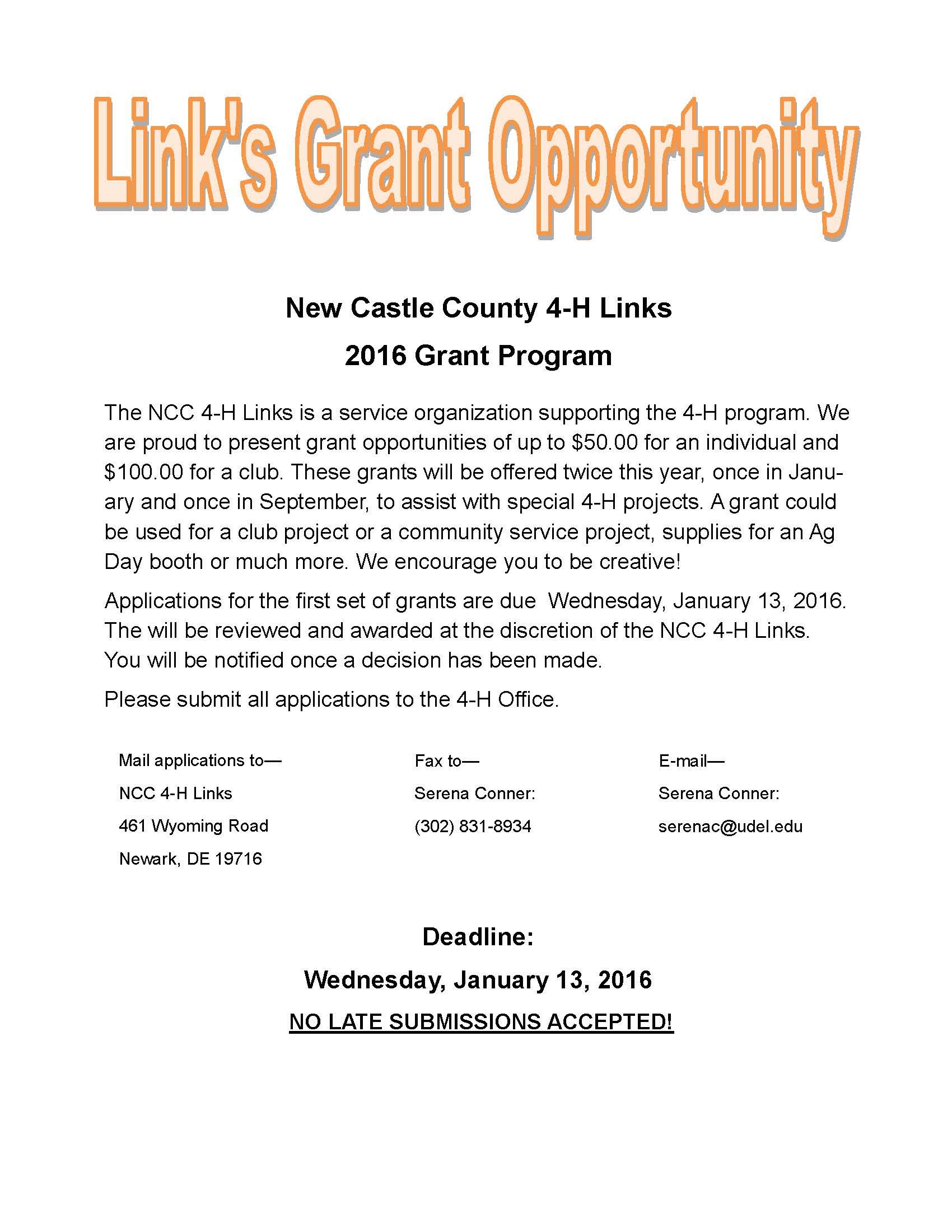 2016 Jan Links Grant Info