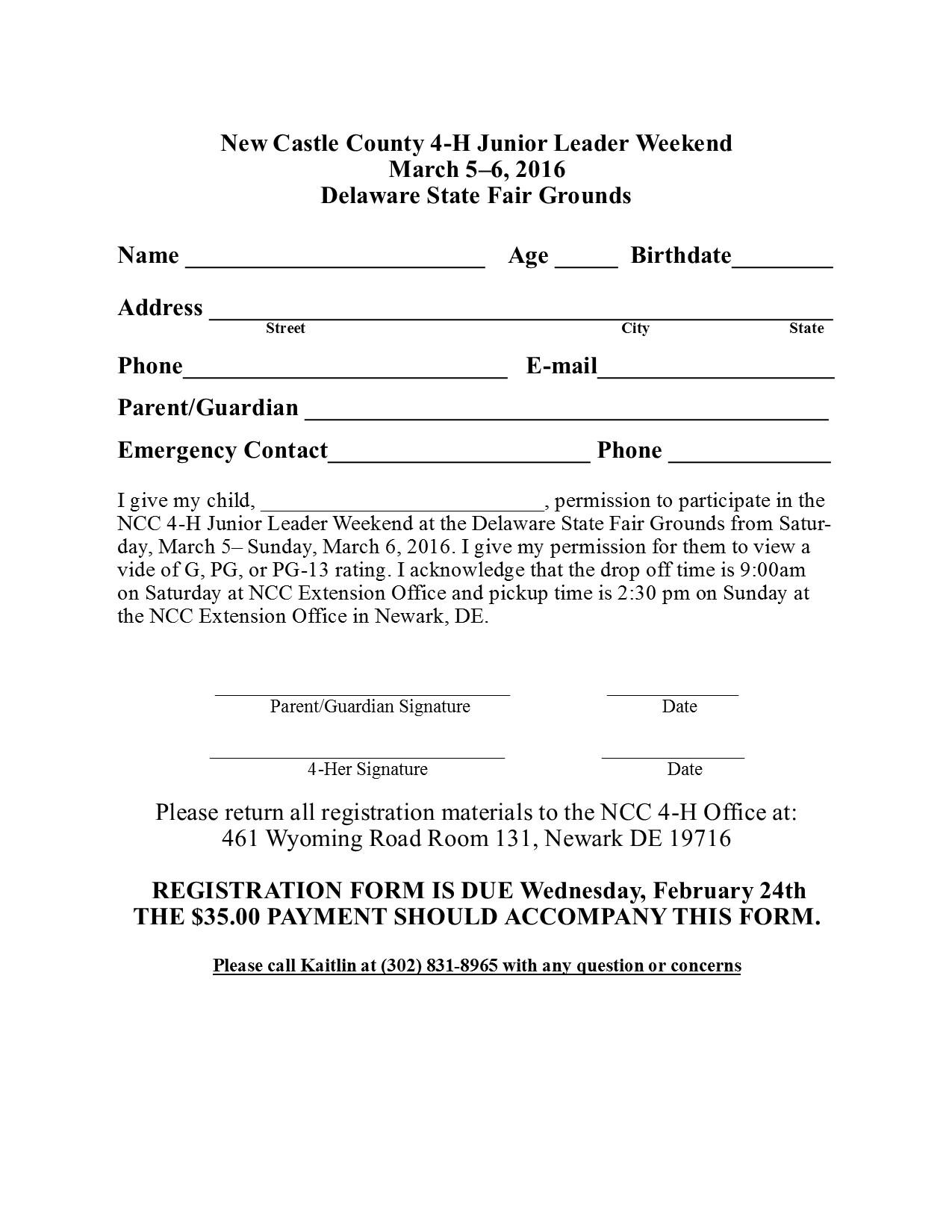 Jr Leader Weekend Registration Form 2016