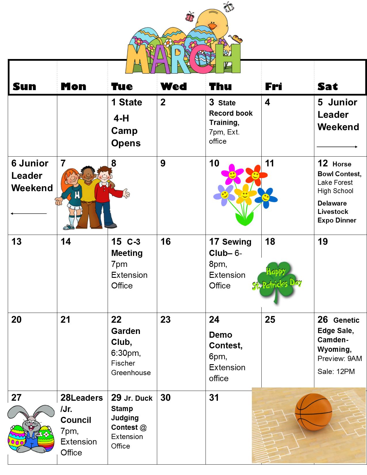 March-May Calendar