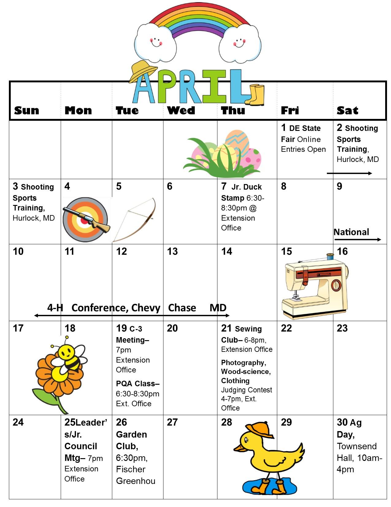 March-May Calendar - April