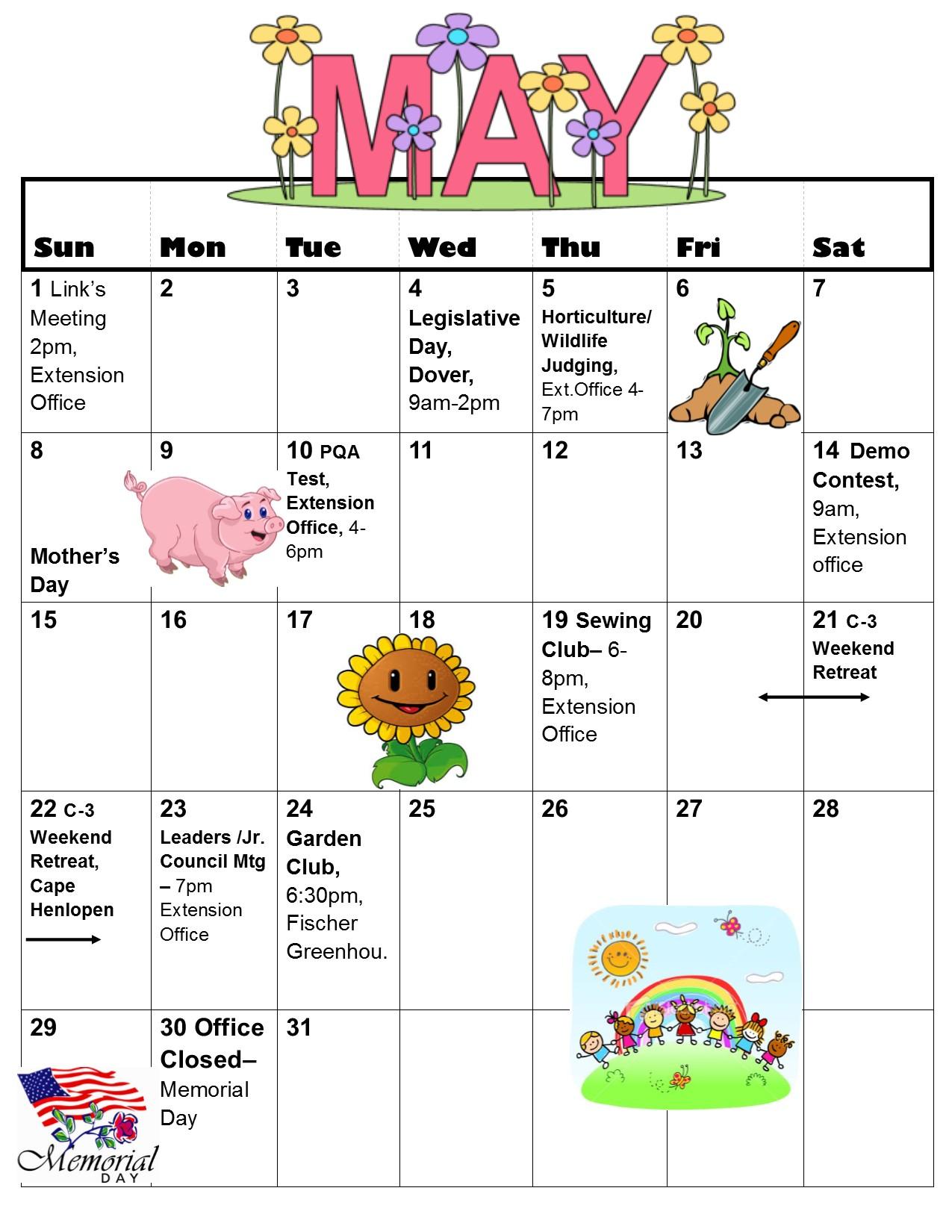 March-May Calendar - May