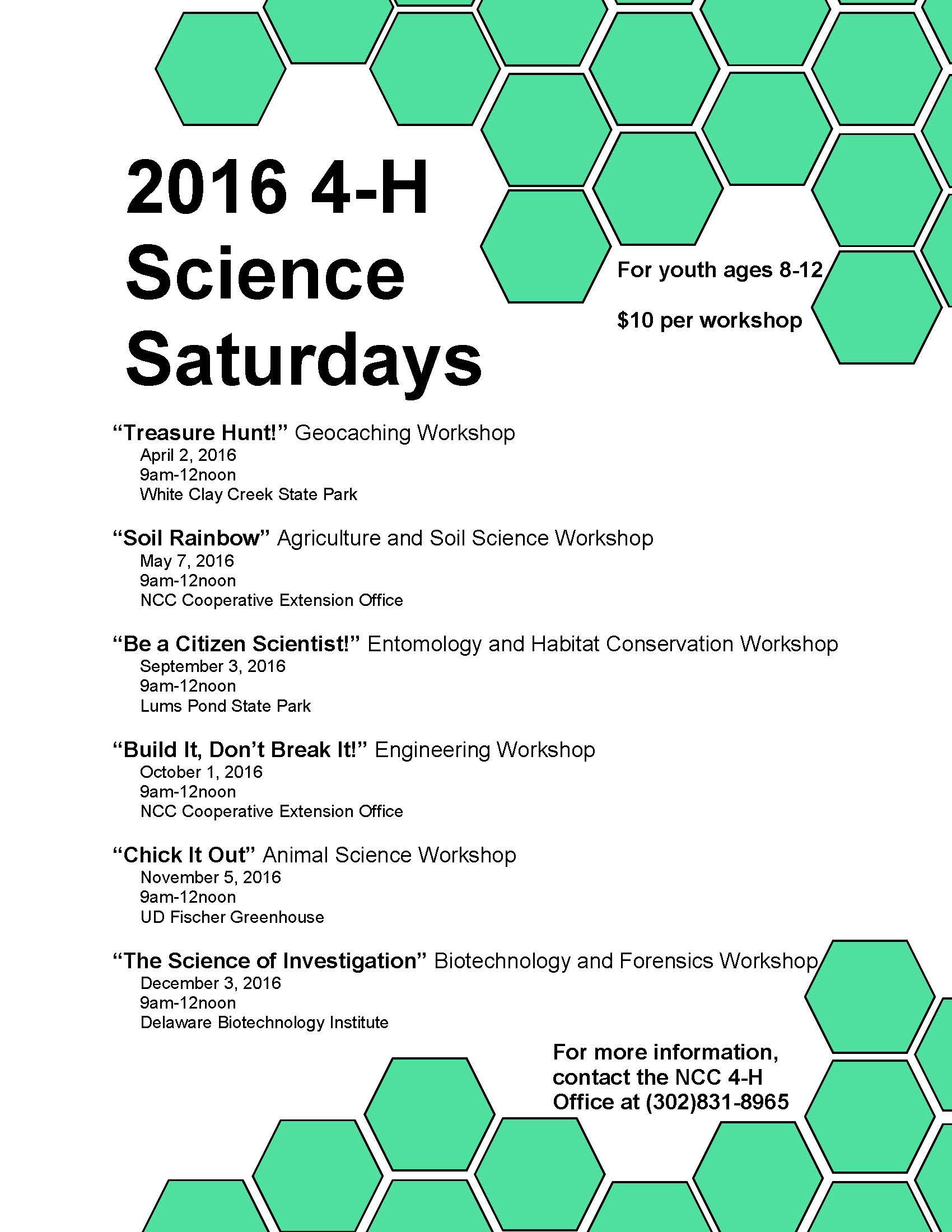 2016 4-H Science Saturdays Flyer