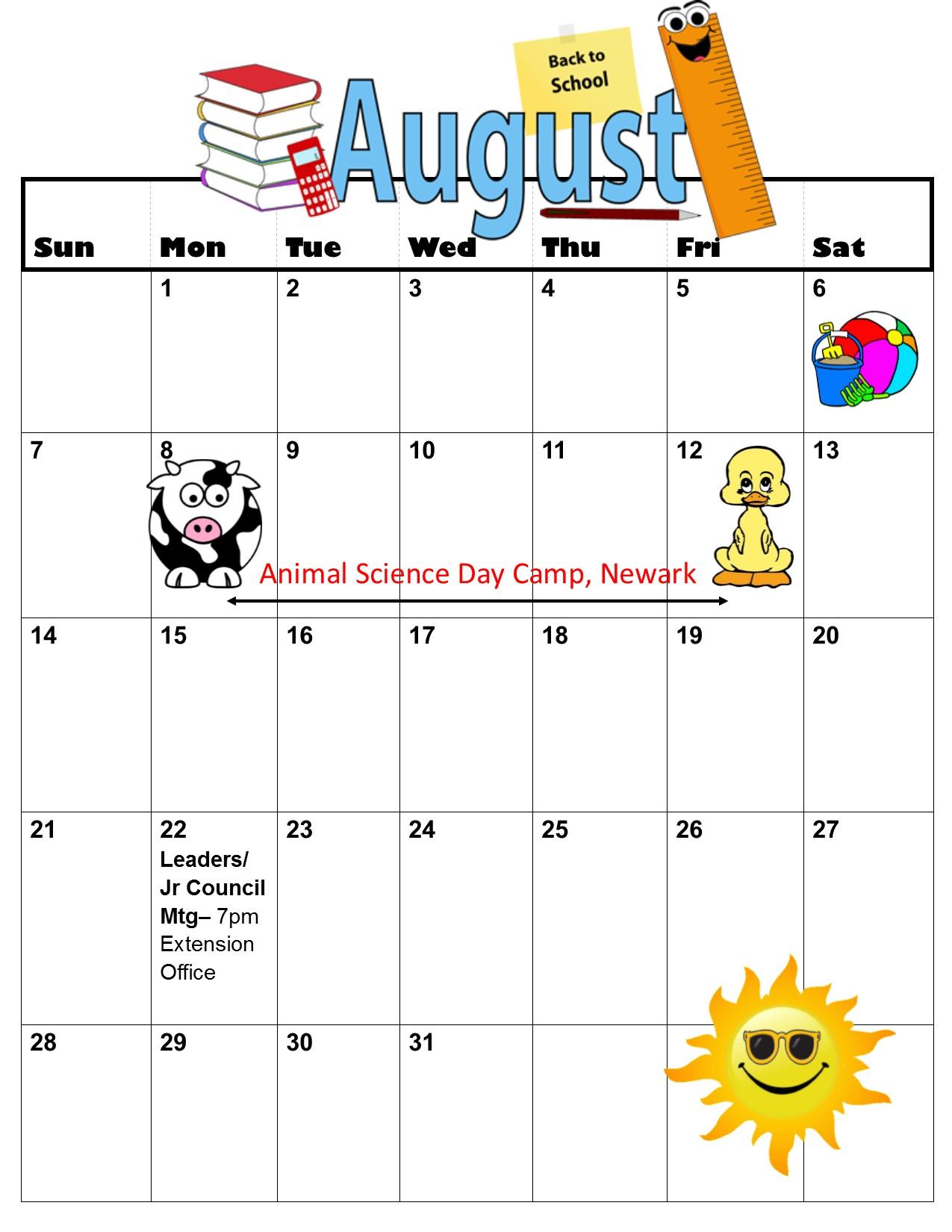 Calendar June Through August : Calendar pages june through august new castle