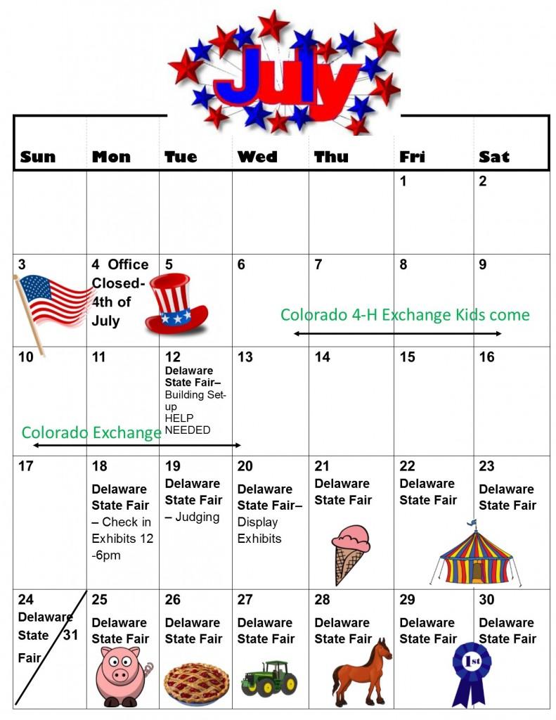 June-August Calendar