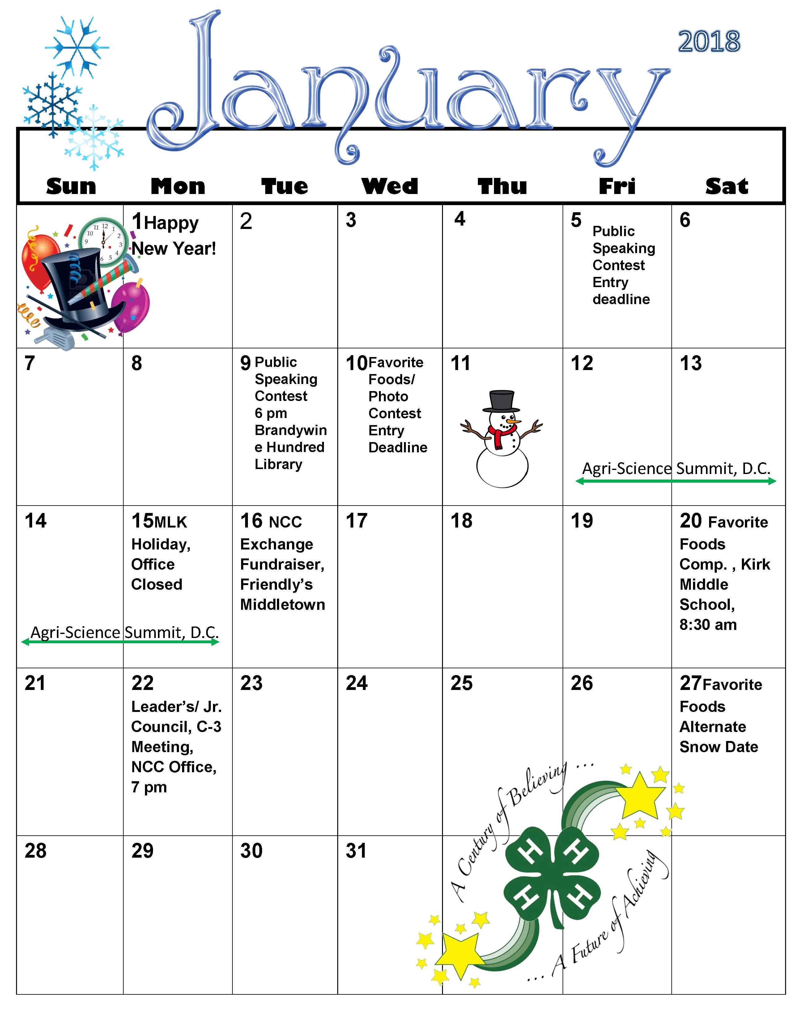 Calendars New Castle County 4 H News Flash