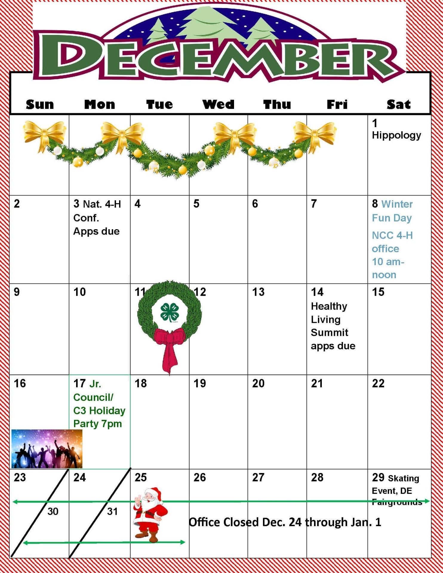 printable december through february calendars