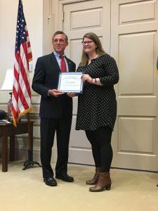 Katie Pifer Morrison and Governor Carney, April 2017