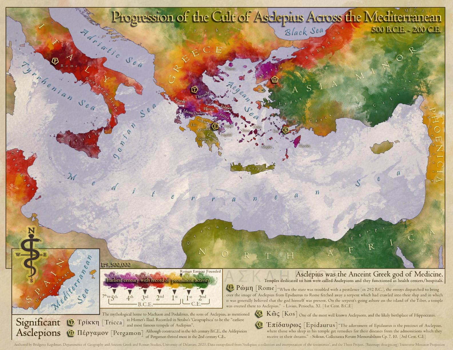 2020 Winner Map from Bridgette Kegelman - Progression of the Cult of Asclepius across the Mediterranean 500 B.C.E. – 200 C.E.