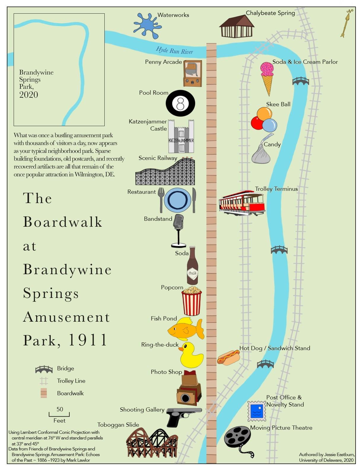 2020 Winner Map from Jessie Eastburn - Brandywine Springs Park, Wilmington, DE in 1911 vs. 2020
