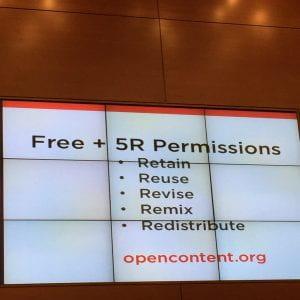 slide - Free + 5R Permissions: Retain, Reuse, Revise, Remix, Redistribute. Opencontent.org