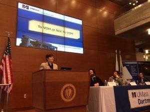 Oksana Jackim presenting on the use of virtual office hours