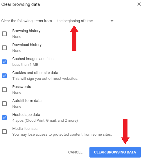 Clear browsing data window in Google Chrome