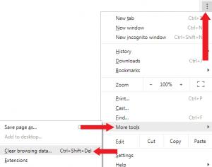 Google Chrome options menu