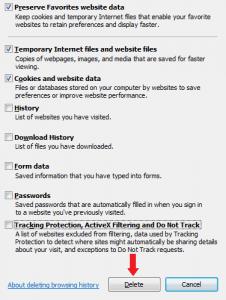 Delete Browsing History window in Internet Explorer