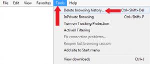 Tools menu of Internet Explorer