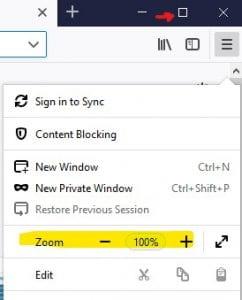 Screenshot of Firefox settings