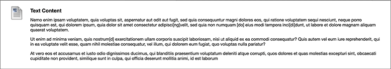 A screen capture of some sample text after it is saved and published.