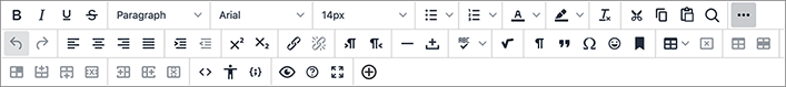 A screen capture of the myCourses text editor toolbar