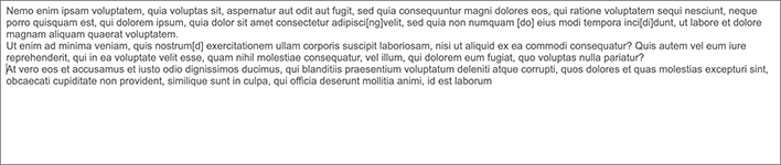 A screen capture of some sample text in the text editor.