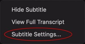 The Live Transcript pop-up menu, visible after transcription has started