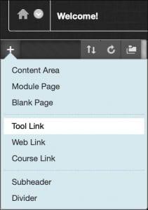 The course menu add pop-up menu