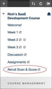 The course menu with the Akindi tool hightlighted