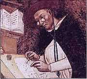Undated image showing a man writing with spectacles
