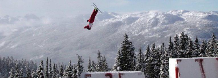 Aerial ski jumper in flight