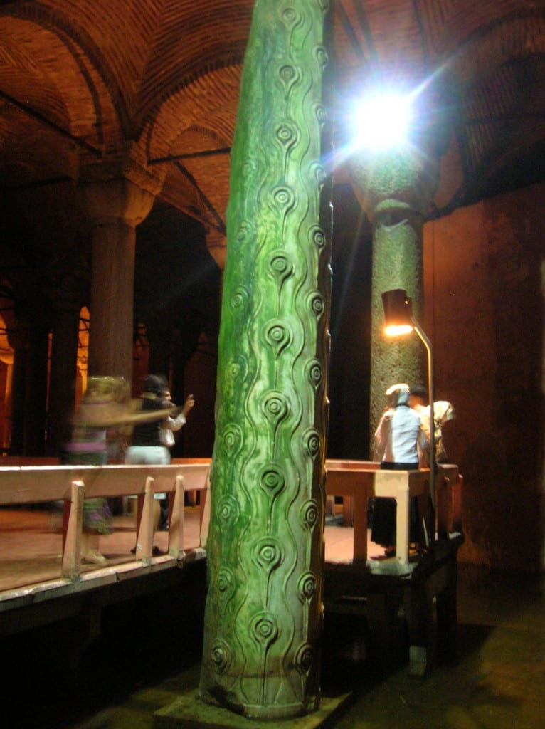 Column of Tears in the Basilica Cistern, Istanbul, Turkey, August 2007