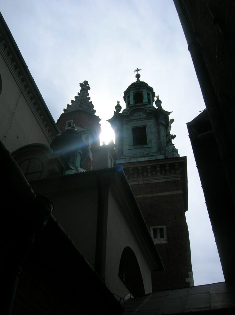"""Wawel Cathedral, Cracow, Poland, July 2007 (Did you notice? I liked that """"sunset motive"""".)"""