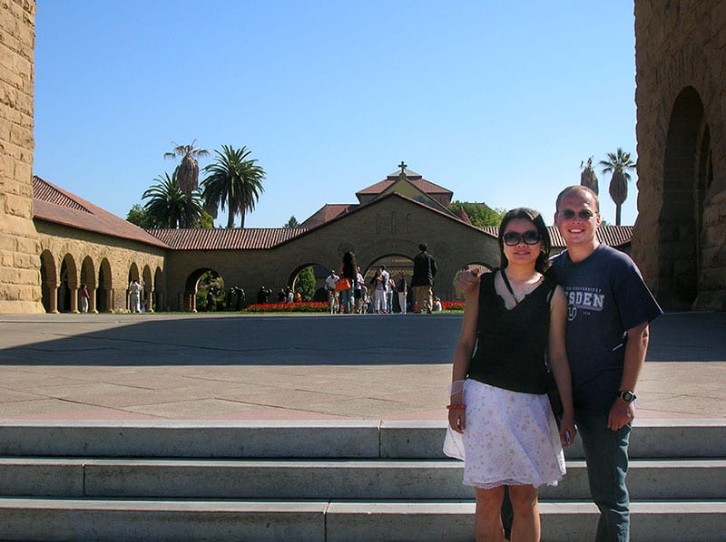 Peter Hinow with Teri on the campus of Stanford University, August 2006