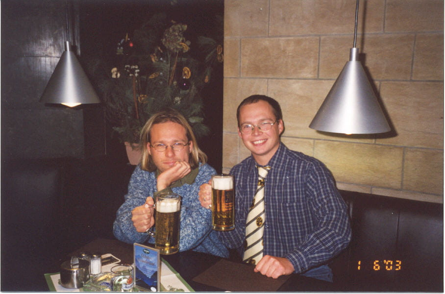 With my brother Martin, enjoying the good stuff at our favourite pub
