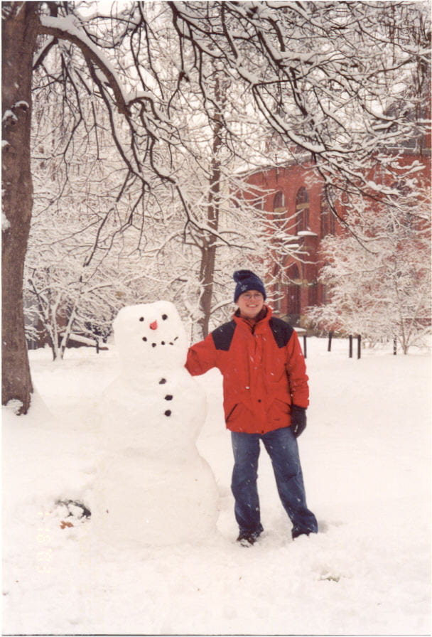 At Vanderbilt University campus, with my work of art, March 2003