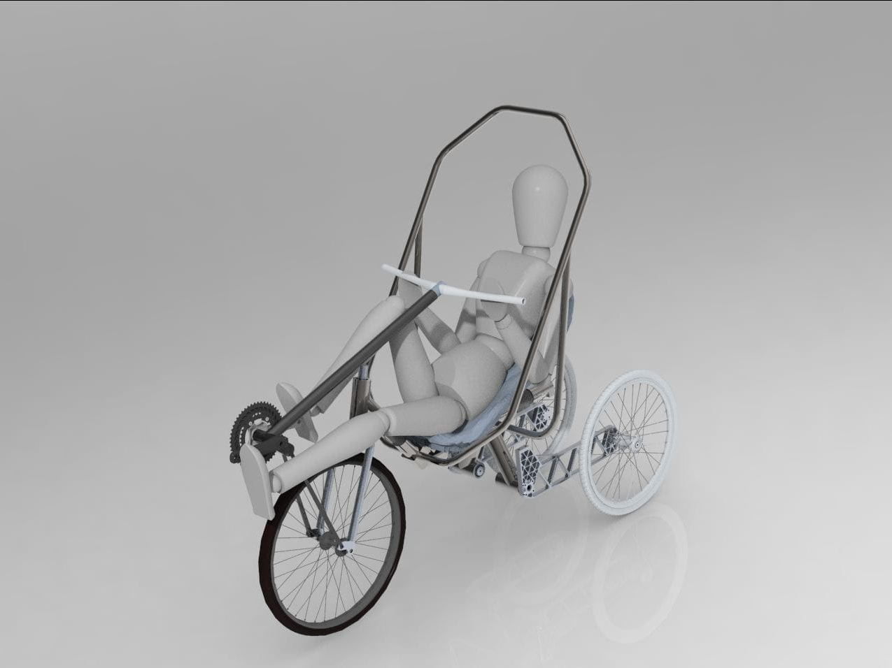 Tilting, narrow-track, recumbent tricycle with variable