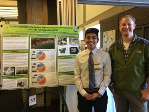 Rene Chavez presents his research at 2019 UWM Undergraduate Research Symposium with his mentor, Scott Schaefer