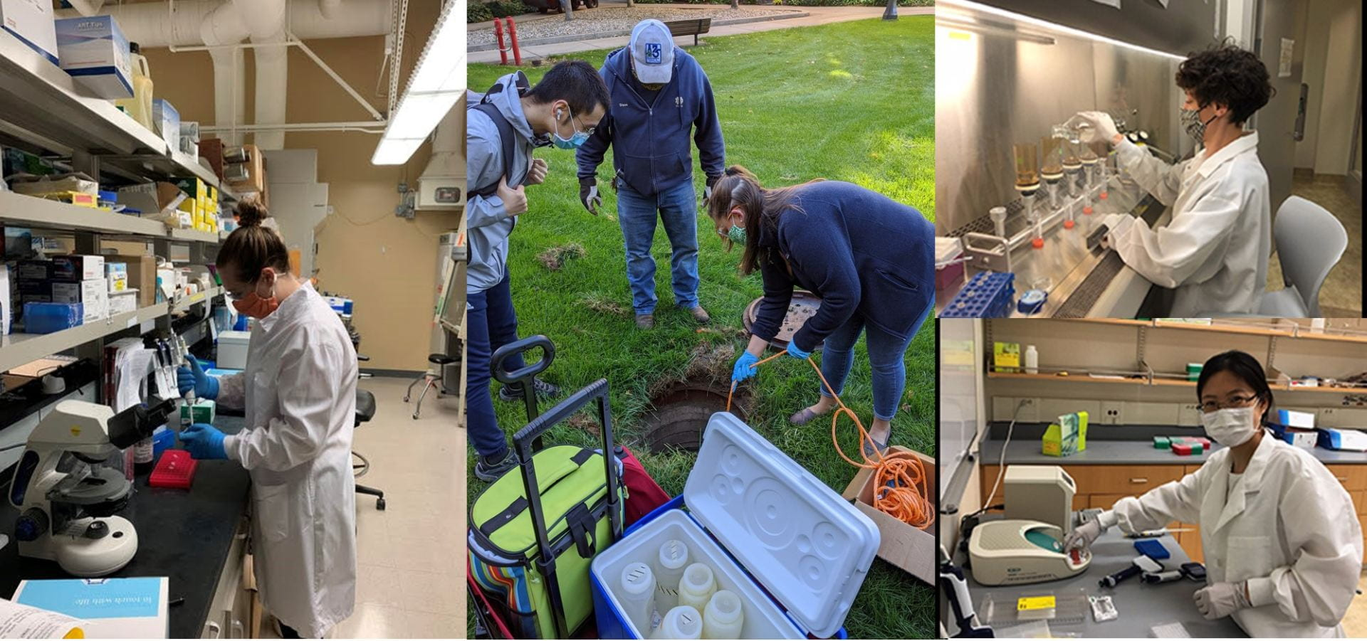 Researchers sampling and processing wastewater for SARS-CoV-2
